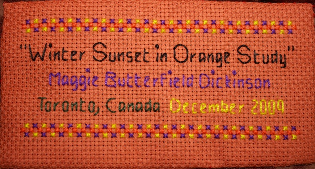 "Label for ""Winter Sunset in Orange Study"""